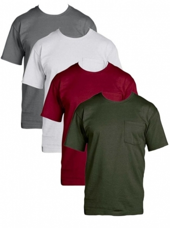 [135~140/4장 묶음] Fruit of the Loom Men's 4-Pack Pocket T-Shirt - Colors May Vary