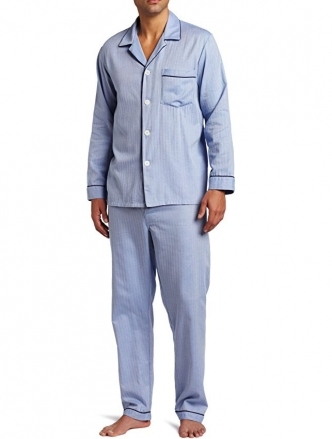 [세트]Majestic International Mens Herringbone Long Sleeve Pajama Set
