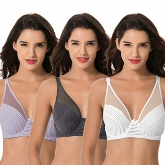 [18차 입고/ 3장묶음]Curve Muse Plus Size Minimizer Unlined Underwire Full Coverage Bra